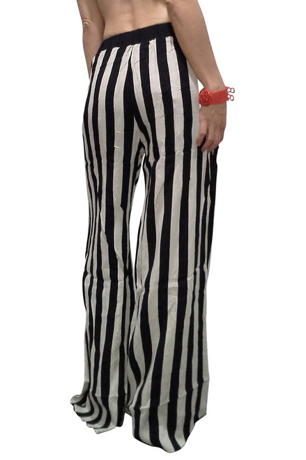Amazing Boutique Palazzo Pants are 100% Cotton! Classic Black & White Vertical Stripes.