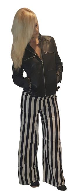 Amazing Boutique Palazzo Pants are 100% Cotton! Classic Black & White Vertical Stripes.