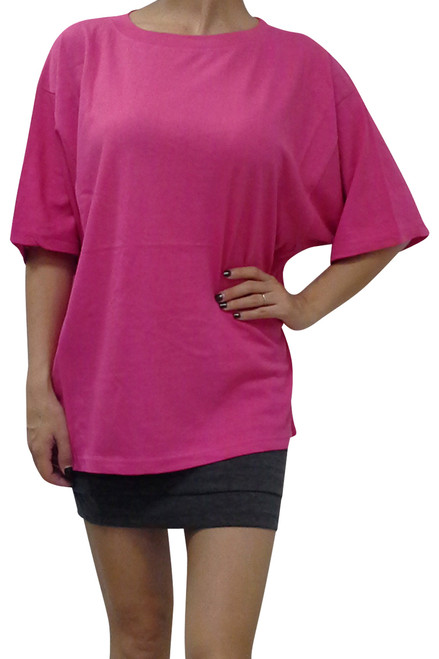 100% Cotton. The Basic Tee. Solid Fuchsia Pink.