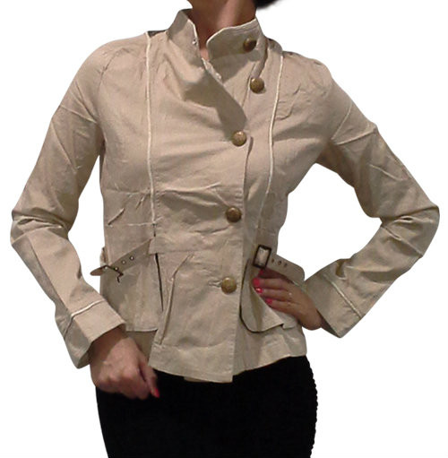 Boutique Jacket is 100% Cotton with Plaid & Floral Back! Sand / Taupe.