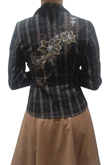 Boutique Blazer with Embroidery! 97% Cotton. Black & Tan Plaid.