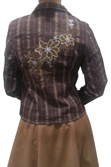 Boutique Blazer with Embroidery! 97% Cotton. Violet & Tan Plaid.
