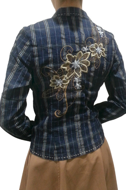 Boutique Blazer with Embroidery! 97% Cotton. Navy Blue & Tan Plaid.