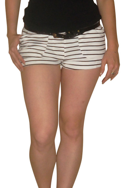 92% Cotton Shorts come with the Belt! White & Black.