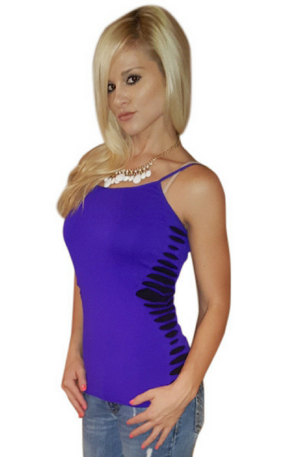 Spandex Bodycon Top with Shredded Sides & Contrast Color!  Purple.