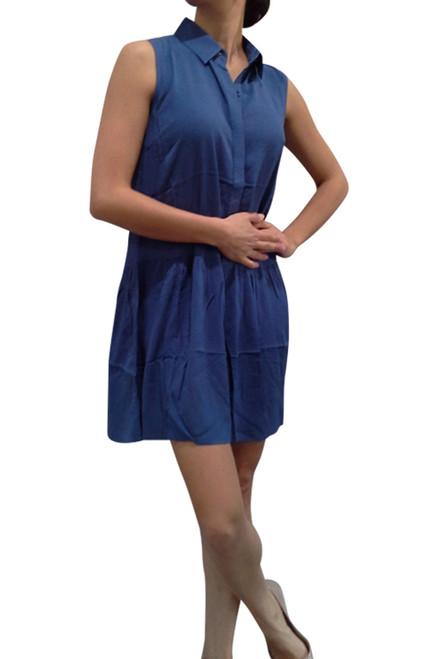 100% Rayon Blue Dress with Collar & Peplum Effect!