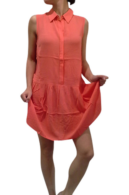 100% Rayon Coral Dress with Collar &  Effect!