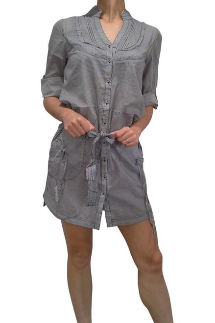 100% Cotton Black/White Pinstriped Shirt-Dress!