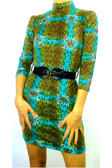 Fitted Bodycon Dress. Retro/Vintage Style. Comes with Belt! Green/Turquoise.