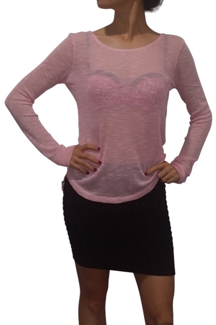 Pink Rayon Top with Keyhole Detail.