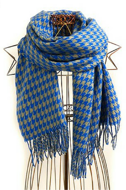 Huge 6 Foot Scarf is softer than cashmere! Classic Blue / Mocha Houndstooth.