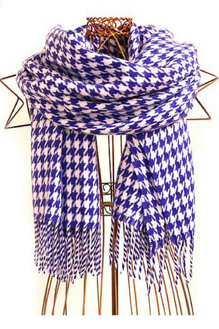 Huge 6 Foot Scarf is softer than cashmere! Classic Purple / White Houndstooth.