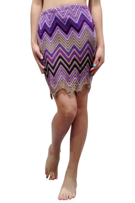 Classy Crochet Pencil Skirt! Purple Chevron.