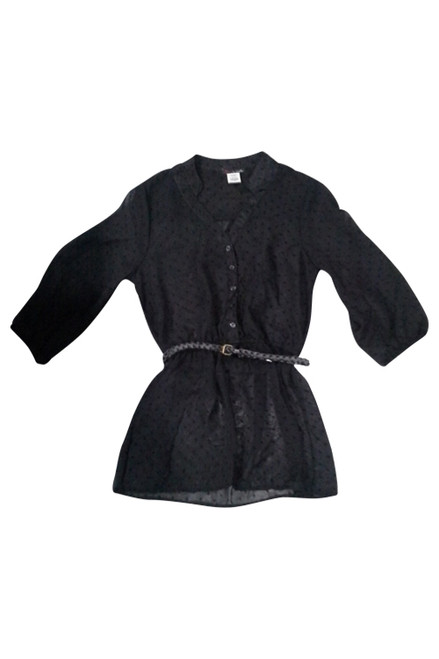 Black Belted Top with 3/4 Sleeves!