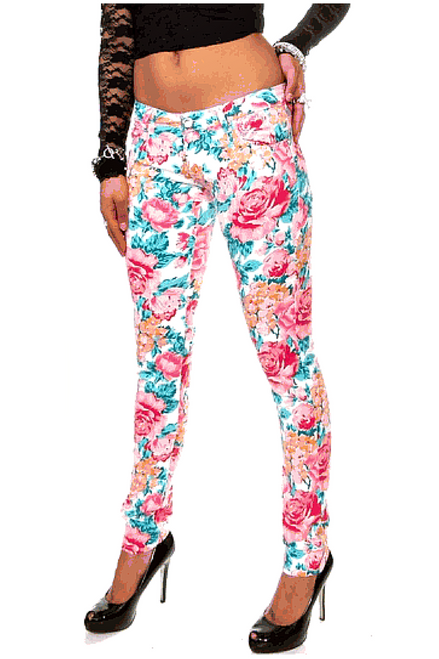 Floral Print Stretch Skinny Jeans from GOGO JEANS. Pink / Teal.