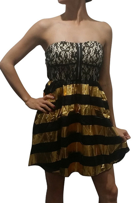 Metallic Gold & Black Dress with Lace & Zipper!
