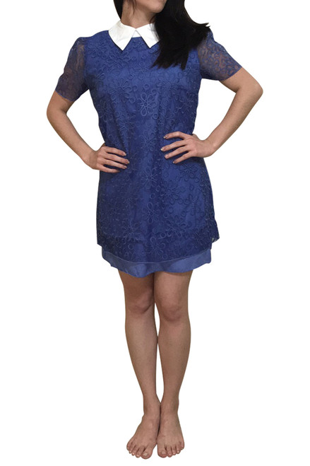 Flower Power Vintage Dress with Retro Lace & White Collar! Blue.