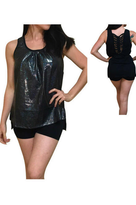Black Sexy Top with Subtle Snakeskin Effect & Cutout Back!