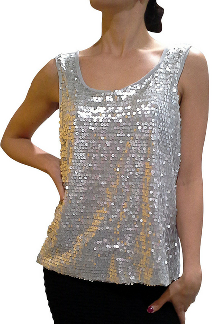 Fully Sequined Top with Keyhole Back! Grey/Silver.