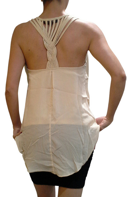 Beige Sleeveless  Top with Braided Spaghetti Back!