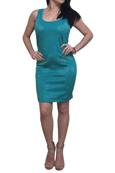 Bodycon Dress with Chevron Pattern Micro Stones! Sea Foam / Mint Green.