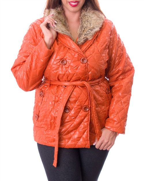 PLUS SIZE Belted Jacket with Faux Fur Collar is an Amazing Value! Orange.