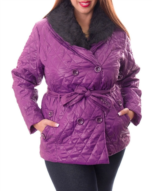PLUS SIZE Belted Jacket with Faux Fur Collar is an Amazing Value! Purple.