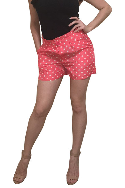 Coral Shorts with White Polka Dots come with the Belt!