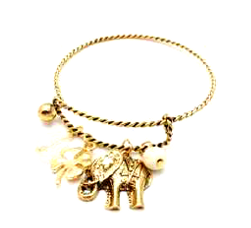 Charm Bracelet with Elephant, Pearl, and Lucky 4-Leaf Clover! Color: Gold/Bronze.
