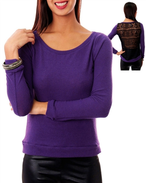 Purple Long Sleeve Top with Black Lace Back!