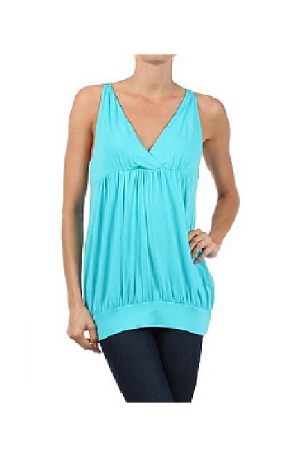95% Rayon, Boho Chic Crochet Sleeveless Top!  Turquoise Blue.