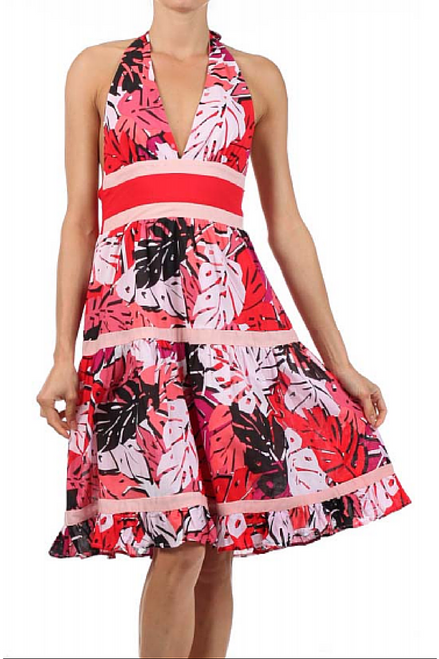 100% Cotton! Retro/Vintage Red Floral Halter Dress is a Classic!