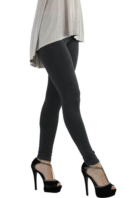 Long, Thick Body-Shaping Leggings from Ambiance Apparel! Charcoal Grey.