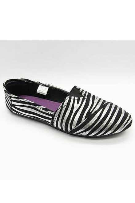 """Inspired by Major Brand! Classic Zebra Print (Black / Silver) """"Toms"""" Style Flats!"""