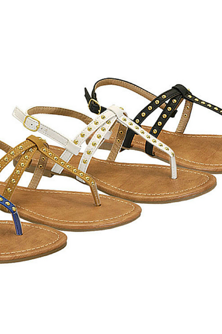 Three Strap Gladiator Sandals with Studs! White.