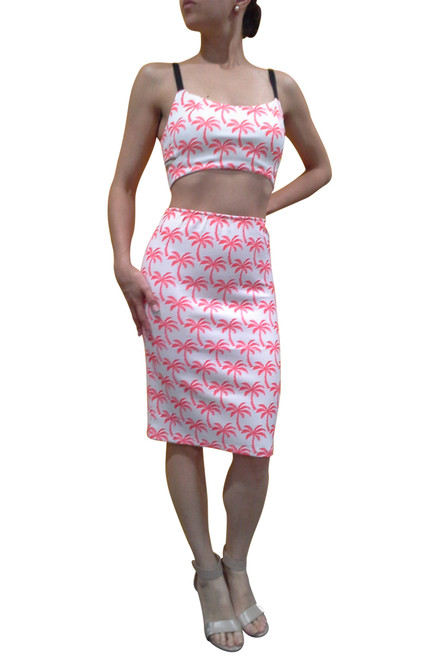 Palm Tree Print Crop Top Boustier. Boutique Quality. Coral. ** Top & Skirt Sold as Separate Pieces.