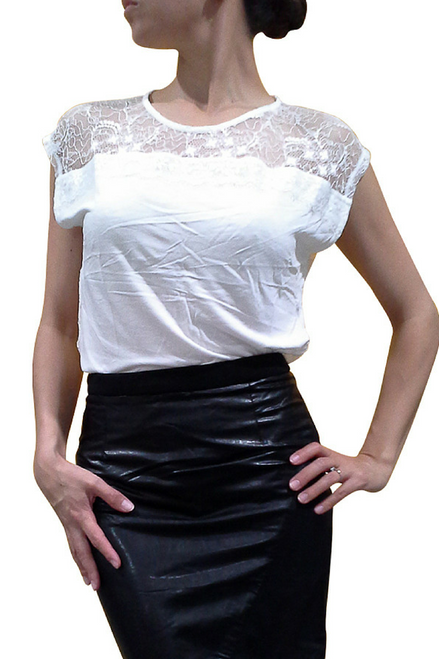Major Brand Top with Lace Back & Shoulders! White.