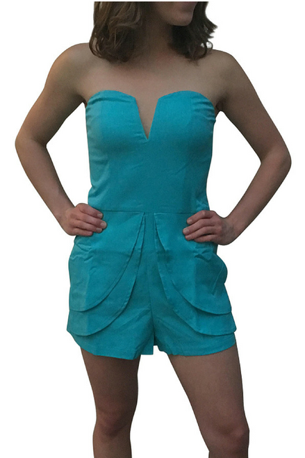 Hot Blue Peplum Romper from Boutique Brand with Zip-Up Back!