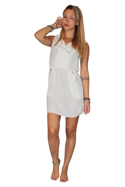 Sleeveless, White Spring Dress with Zipper Pockets from Boutique Brand: ELA!