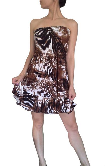 100% Rayon Strapless Dress in Brown & White Animal Print!