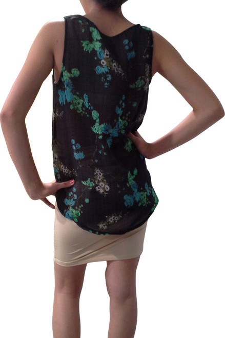 Black Top with Blue Floral Pattern from Boutique Brand: PAPER CRANE!