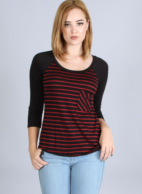 Striped Raglan Top with Solid Sleeves. Black/Red.