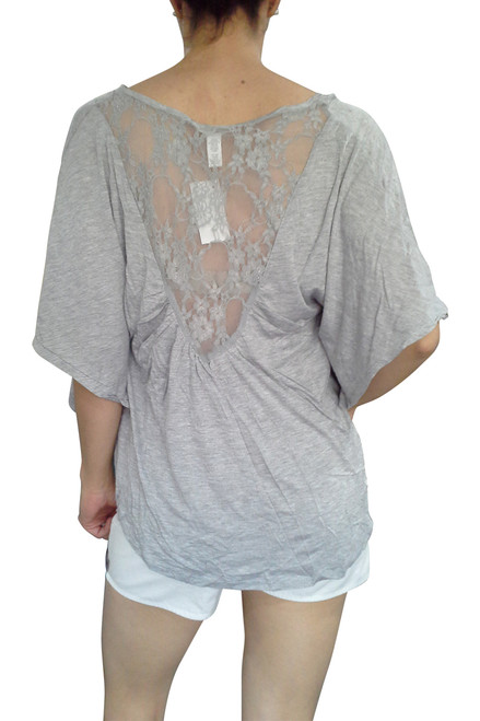 PLUS SIZE Lace Top from Ambiance Apparel is 100% Rayon! Grey.