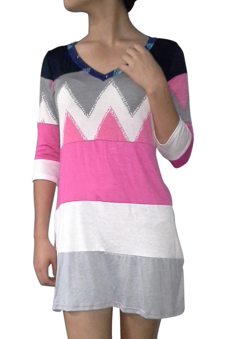 Tunic Dress with Half Sleeves and Aztec / Chevron Print! 95% Rayon.