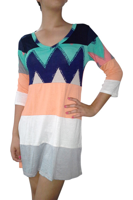 95% Rayon Tunic Dress with Half Sleeves and Aztec / Chevron Print!