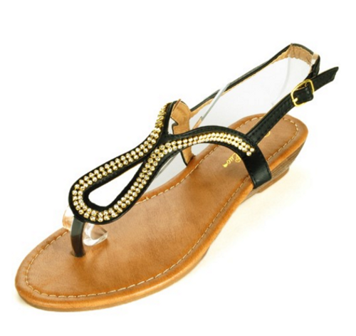 Black Aldo-Inspired Loop Sandal with Micro Stones!