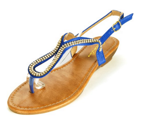 Blue Aldo-Inspired Loop Sandal with Micro Stones!