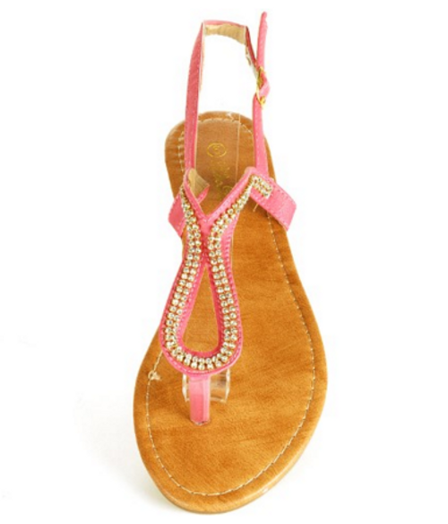 Pink Aldo-Inspired Loop Sandal with Micro Stones!