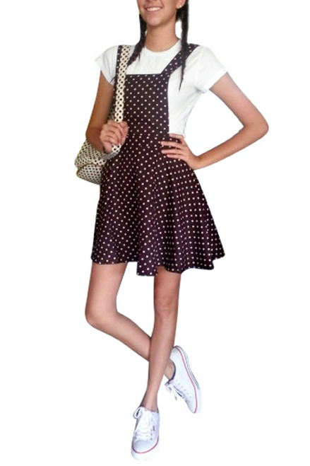 $27.80 Tags! Brown Polka Dot Dress with Criss-Cross Straps!