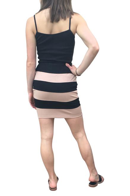 Black / Peach Striped Pencil Skirt with Zipper!